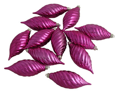 Club Pack of 12 Pink Magenta Shatterproof Finial Christmas Ornaments 4.75""