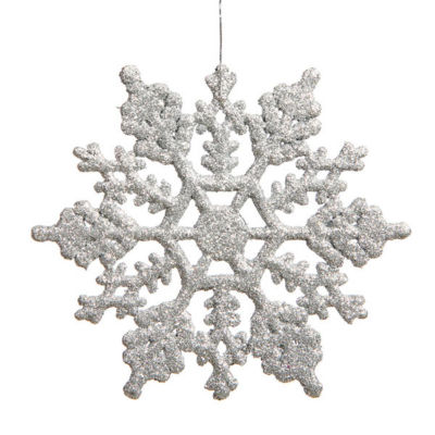 Club Pack of 12 Silver Splendor Glitter Snowflake Christmas Ornaments 6.25""