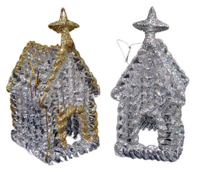 Club Pack of 144 Clear Glitter Church Christmas Ornaments 4.5""