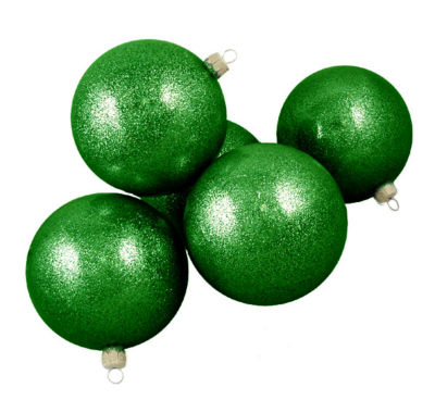 "Club Pack of 16 Green Envy Glitter Glass Ball Christmas Ornaments 4"" (100mm)"""