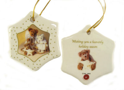 Club Pack of 192 Porcelain Boyds Holiday Bears Christmas Ornaments 3""