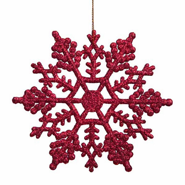 Club Pack of 24 Berry Red Glitter Snowflake Christmas Ornaments 3.75""