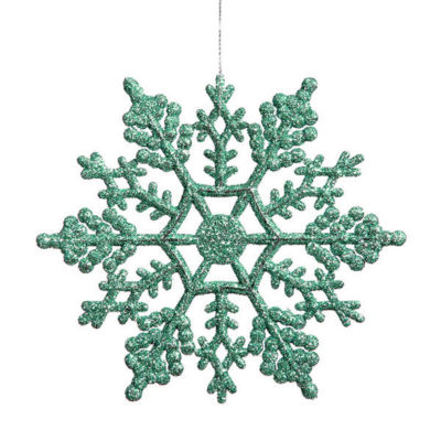 """Club Pack of 24 Peacock Green Glitter Snowflake Christmas Ornaments 4"""""""