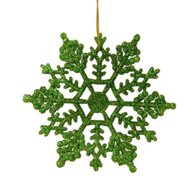 Club Pack of 24 Shimmering Christmas Green Glitter Snowflake Christmas Ornaments 3.75""