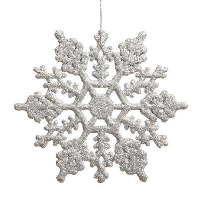"Club Pack of 24 Silver Splendor Glitter SnowflakeChristmas Ornaments 3""75"""