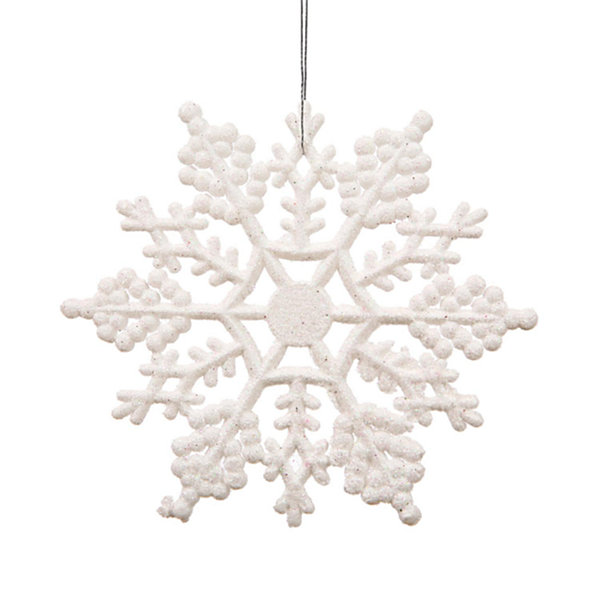 Club Pack of 24 White Glitter Snowflake Christmas Ornaments 4""