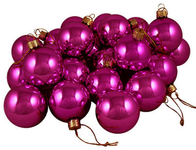"Club Pack of 36 Shiny Fuschia Candy Glass Ball Christmas Ornaments 2.75"" (67mm)"""