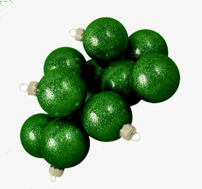 "Club Pack of 48 Green Envy Glitter Glass Ball Christmas Ornaments 2"" (50mm)"""