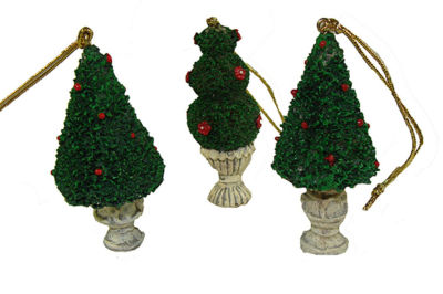 Club Pack of 576 Potted Topiary Tree Christmas Ornaments 2.5""