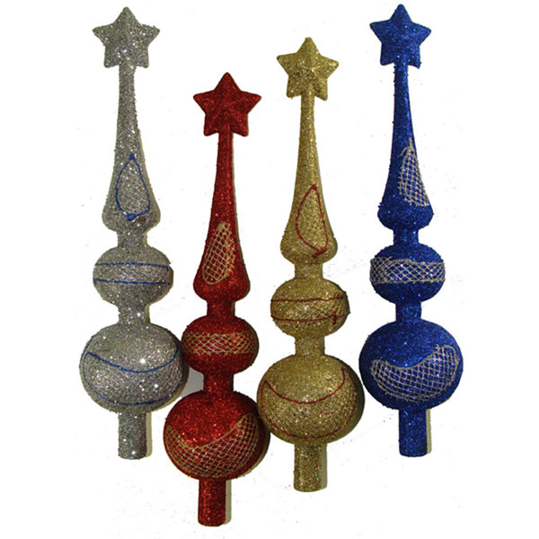 Club Pack of 72 Colorful Glitter Finial Christmas Tree Toppers 11""