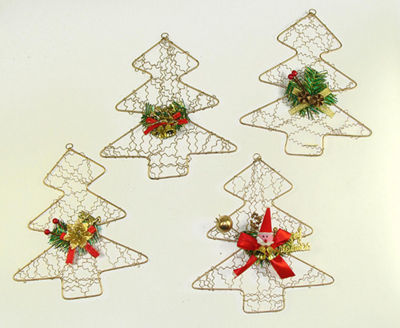 Club Pack of 72 Gold Wire Santa Christmas Tree Ornaments