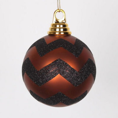 "Copper Matte and Black Glitter Chevron Shatterproof Christmas Ball Ornaments 4"" (100mm)"""