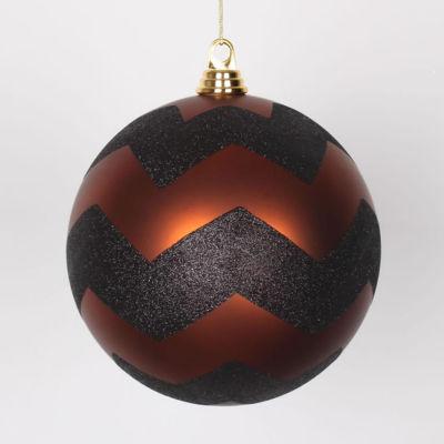 "Copper Matte with Black Glitter Chevron ChristmasBall Ornament 8"" (200mm)"""