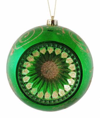 "Emerald Green Retro Reflector Shatterproof Christmas Ball Ornament 8"" (200mm)"""