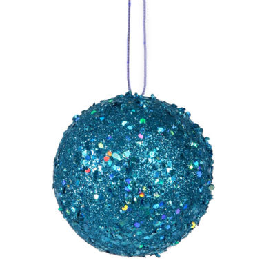 """Fancy Blue Holographic Glitter Drenched Christmas Ball Ornament 4.75"""""""