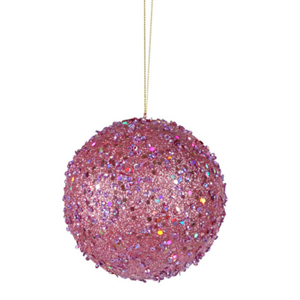 Fancy Carnation Pink Holographic Glitter Drenched Christmas Ball Ornament 4""