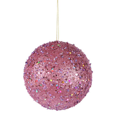 Fancy Carnation Pink Holographic Glitter DrenchedChristmas Ball Ornament 4.75""