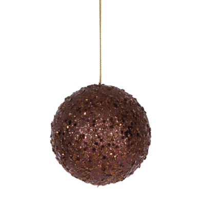 Fancy Chocolate Brown Holographic Glitter DrenchedChristmas Ball Ornament 4""