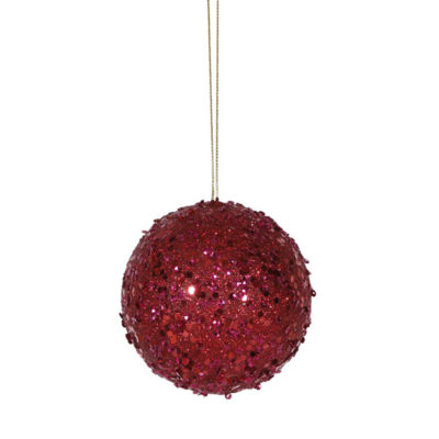 "Fancy Deep Red Holographic Glitter Drenched Christmas Ball Ornament 4"" (100mm)"""