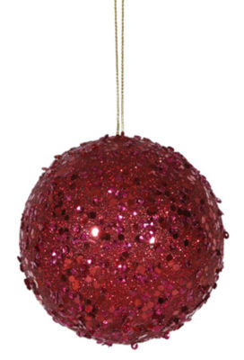Fancy Deep Red Holographic Glitter Drenched Christmas Ball Ornament 4.75""