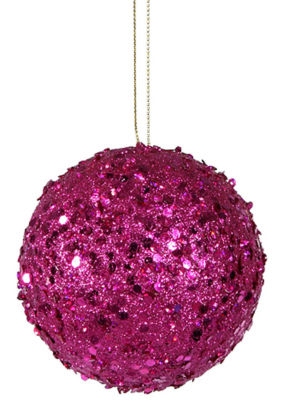 Fancy Fuschia Pink Holographic Glitter Drenched Christmas Ball Ornament 4.75""