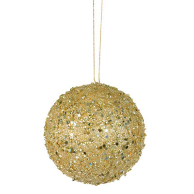 "Fancy Gold Holographic Glitter Drenched Christmas Ball Ornament 3"" (80mm)"