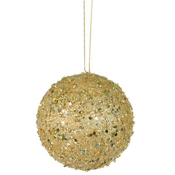 "Fancy Gold Holographic Glitter Drenched ChristmasBall Ornament 4"" (100mm)"""
