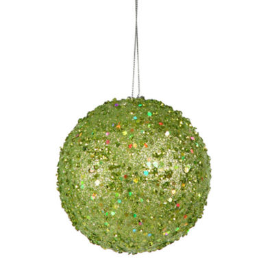 "Fancy Green Apple Holographic Glitter Drenched Christmas Ball Ornament 3"" (80mm)"""