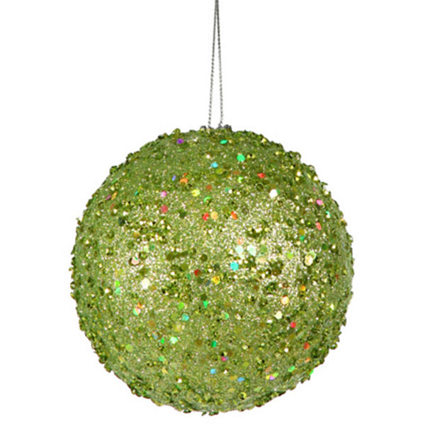 Fancy Green Apple Holographic Glitter Drenched Christmas Ball Ornament 4.75""