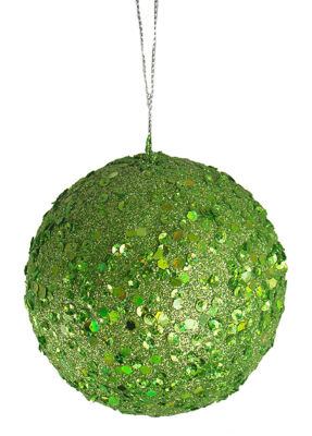 "Fancy Lime Green Holographic Glitter Drenched Christmas Ball Ornament 4"" (100mm)"""