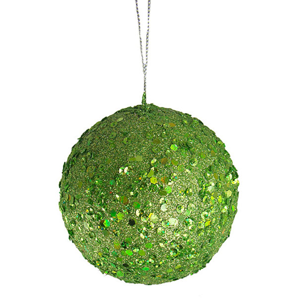 Fancy Lime Green Holographic Glitter Drenched Christmas Ball Ornament 4.75""