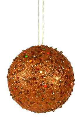 "Fancy Orange Holographic Glitter Drenched Christmas Ball Ornament 4"" (100mm)"""
