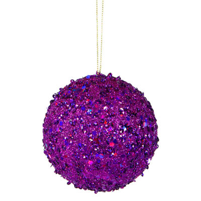 """Fancy Purple Holographic Glitter Drenched Christmas Ball Ornament 3"""" (80mm)"""""""