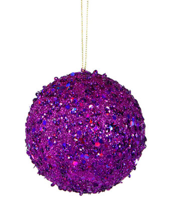 """Fancy Purple Holographic Glitter Drenched Christmas Ball Ornament 4"""" (100mm)"""""""