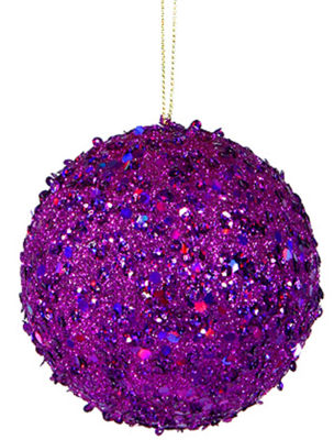 "Fancy Purple Holographic Glitter Drenched Christmas Ball Ornament 4.75"" (120mm)"""