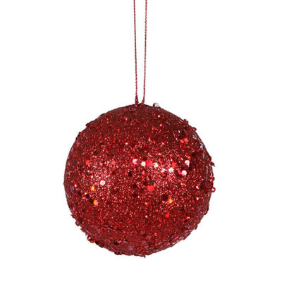 "Fancy Red Hot Holographic Glitter Drenched Christmas Ball Ornament 4"" (100mm)"""