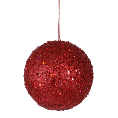 """Fancy Red Hot Holographic Glitter Drenched Christmas Ball Ornament 4.75"""" (120mm)"""""""