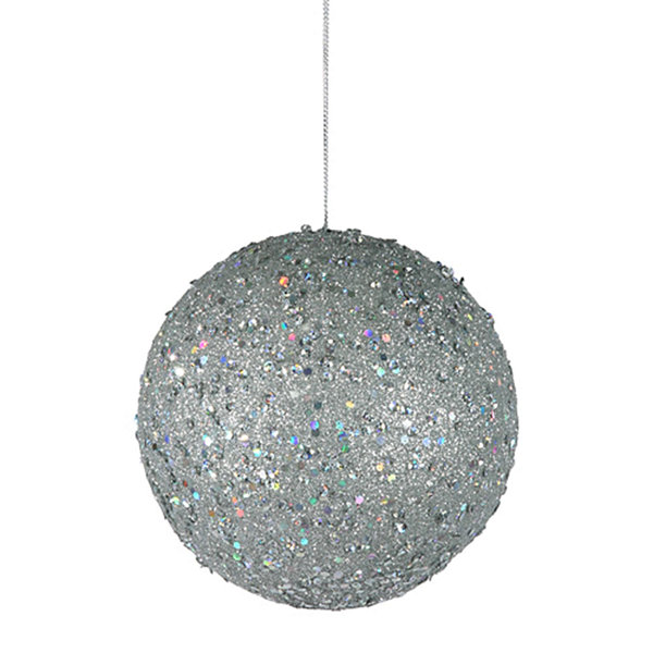 "Fancy Silver Holographic Glitter Drenched Christmas Ball Ornament 4.75"" (120mm)"""
