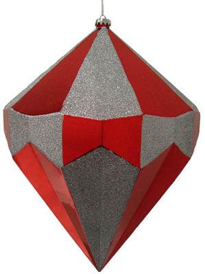 "Giant 18"" Merlot & Silver Diamond Commercial Christmas Ornament Decoration"""