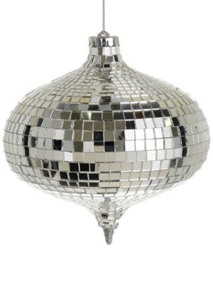 "Glamorous Mirrored Glass Disco Onion-Shaped Christmas Ornament  6""  (150mm)"