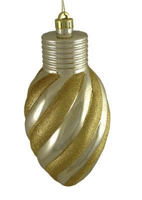"""Gold Glitter Stripe Shatterproof Light Bulb Christmas Ornament 11"""""""