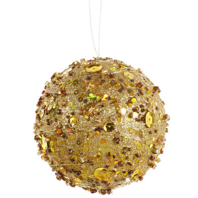 "Gold Sparkle Kissing Christmas Ball Ornament 4"" (100mm)"""