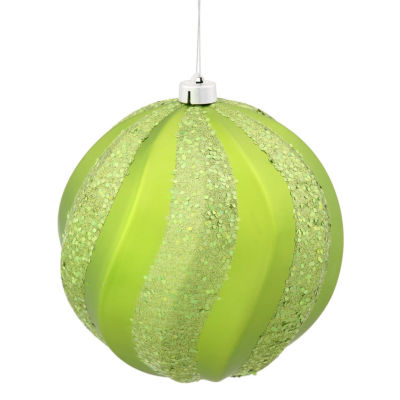"Green Kiwi Glitter Swirl Shatterproof Christmas Ball Ornament 6"" (150mm)"""