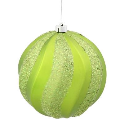 "Green Kiwi Glitter Swirl Shatterproof Christmas Ball Ornament 8"" (200mm)"""