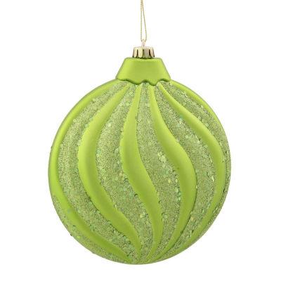 "Green Kiwi Glitter Swirl Shatterproof Christmas Disc Ornament 6"" (150mm)"""