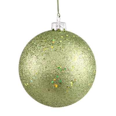 "Green Kiwi Holographic Glitter Shatterproof Christmas Ball Ornament 4"" (100mm)"""