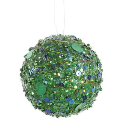 "Green Sparkle Kissing Christmas Ball Ornament 4"" (100mm)"""