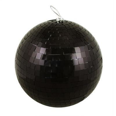 "Huge Jet Black Mirrored Glass Disco Ball ChristmasOrnament 12"" (300mm)"