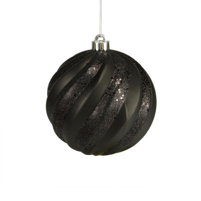 "Jet Black Glitter Swirl Shatterproof Christmas Ball Ornament 6"" (150mm)"""