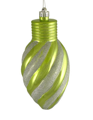 "Kiwi Green Glitter Stripe Shatterproof Light BulbChristmas Ornament 11"""
